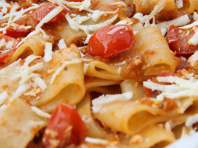 Home Made Pasta With Fish Sauce And Vegetables